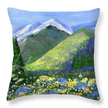 Rocky Mountain Spring Throw Pillow by Jamie Frier