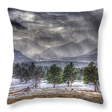 Rocky Mountain Snow Storm Estes Park Colorado Throw Pillow