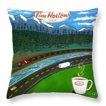 Rocky Mountains Throw Pillow by John Lyes
