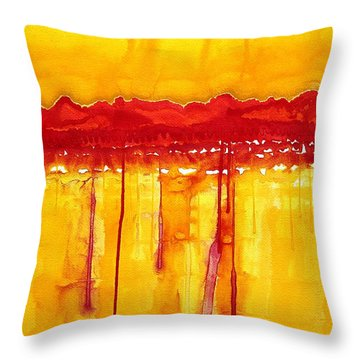 Rocky Mountains Original Painting Throw Pillow by Sol Luckman