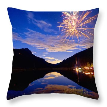 Rocky Mountains Private Fireworks Show Throw Pillow by James BO  Insogna