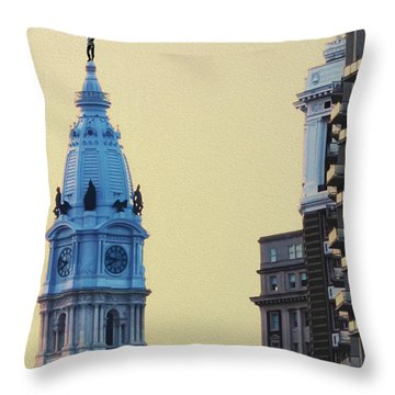 Rocky On Top Of City Hall Throw Pillow by Bill Cannon