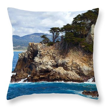 Rocky Outcropping At Point Lobos Throw Pillow