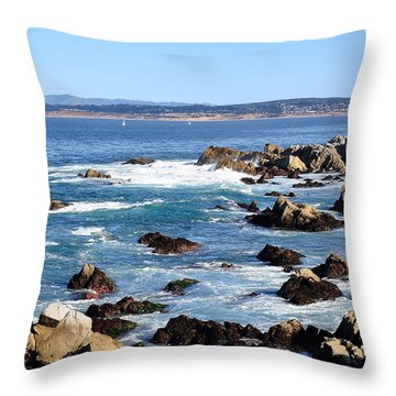Rocky Remains At Monterey Bay Throw Pillow