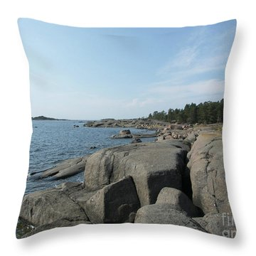 Rocky Seashore 2 In Hamina  Throw Pillow