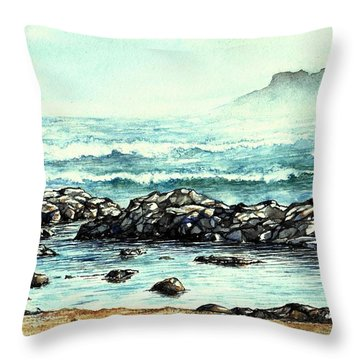 Rocky Seashore Throw Pillow by Heidi Kriel