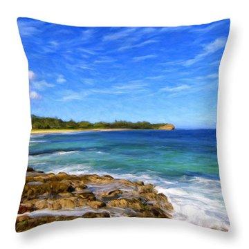 Rocky Shore Near Poipu Throw Pillow