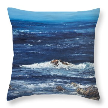 Rocky Shore Throw Pillow by Valerie Travers