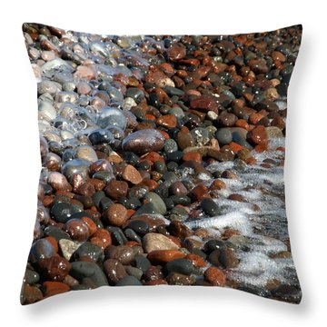 Rocky Shoreline Abstract Throw Pillow by James Peterson