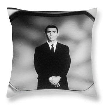 Rod Serling On T V Throw Pillow