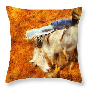 Throw Pillow featuring the painting Eight-second Ride by Greg Collins