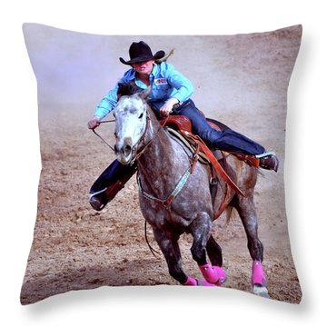 Throw Pillow featuring the photograph Rodeo Cowgirl by Barbara Manis