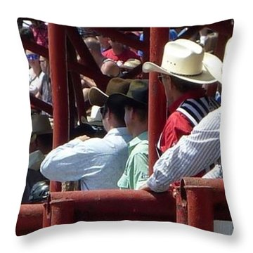 Throw Pillow featuring the photograph Rodeo Time Cowboys by Susan Garren