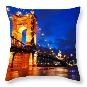 Roebling Bridge Cincinnati Throw Pillow