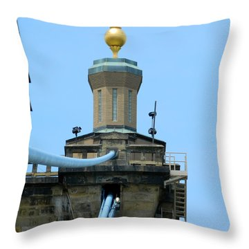 Throw Pillow featuring the photograph Roebling Bridge From Kentucky by Kathy Barney