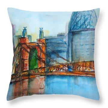 Roebling Bridge Near Dusk Throw Pillow by Elaine Duras