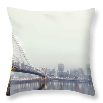Roebling In The Fog Throw Pillow