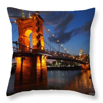 Roebling Suspension Bridge At Sunset Throw Pillow