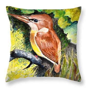 Rofous - Backed Kingfisher  Throw Pillow