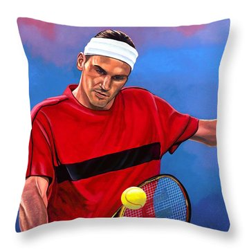 Roger Federer The Swiss Maestro Throw Pillow by Paul Meijering