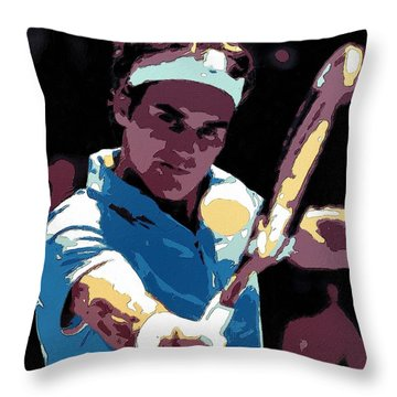Roger Federer Portrait Art Throw Pillow