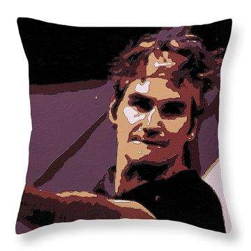 Roger Federer Poster Art Throw Pillow by Florian Rodarte