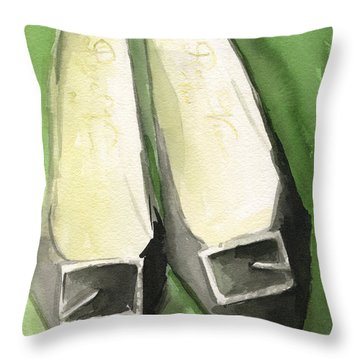 Roger Vivier Black Buckle Shoes Fashion Illustration Art Print Throw Pillow by Beverly Brown
