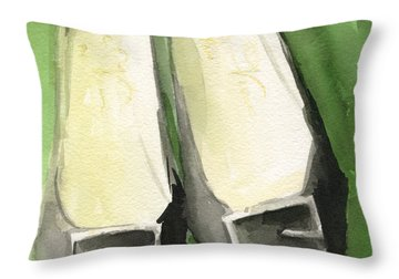 Roger Vivier Black Buckle Shoes Fashion Illustration Art Print Throw Pillow by Beverly Brown Prints
