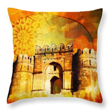 Rohtas Fort 00 Throw Pillow by Catf