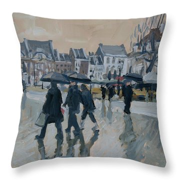 Throw Pillow featuring the painting Rain On The Market Square In Maastricht by Nop Briex
