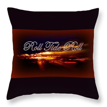 Roll Tide Roll W Red Border - Alabama Throw Pillow