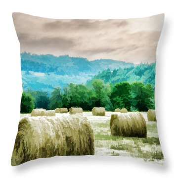 Rolled Bales Throw Pillow
