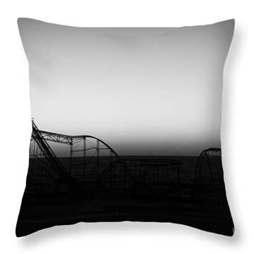 Roller Coaster Silhouette Black And White Throw Pillow by Michael Ver Sprill