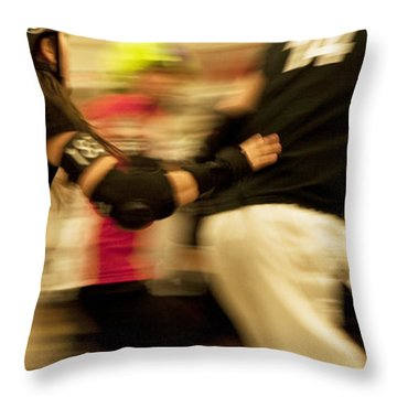 Roller Derby Throw Pillow by Theresa Tahara