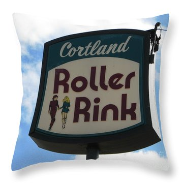 Roller Rink Throw Pillow by Michael Krek