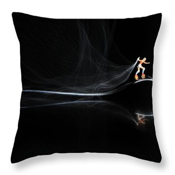 Roller Skating On A Fork With Smoke Torch Throw Pillow by Paul Ge