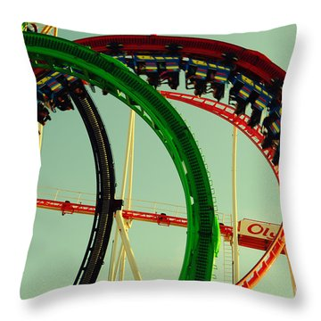 Rollercoaster Looping At The Actoberfest In Munich Throw Pillow by Sabine Jacobs