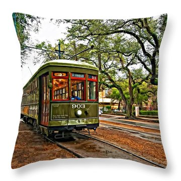 Rollin' Thru New Orleans Throw Pillow by Steve Harrington