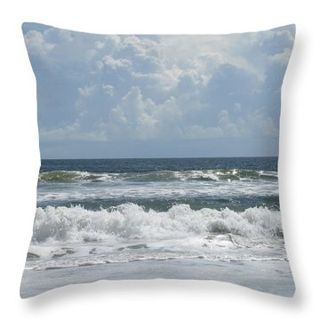 Rolling Clouds And Waves Throw Pillow by Ellen Meakin