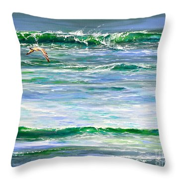 Rolling Green Throw Pillow by AnnaJo Vahle