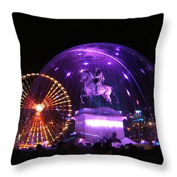 Rolling Lights On Bellecour Square Throw Pillow