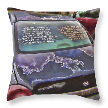 Rolling Multilingual Scripture Throw Pillow by Daniel Hagerman
