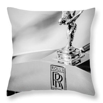 Rolls-royce Hood Ornament -782bw Throw Pillow