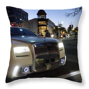 Rolls Royce Parked At The Bottom Of Rodeo Drive Throw Pillow by Nina Prommer