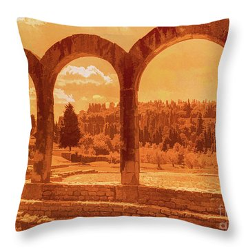 Throw Pillow featuring the photograph Roman Arches At Fiesole by Nigel Fletcher-Jones