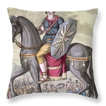 Roman Cavalryman Of The State Army Throw Pillow
