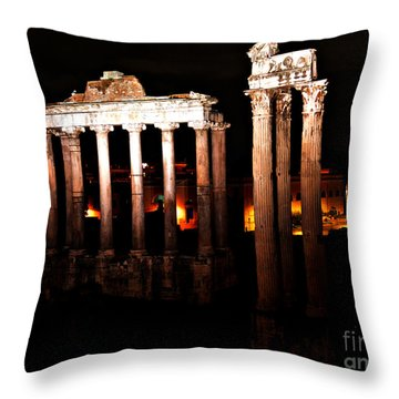 Throw Pillow featuring the photograph Roman Forum At Night by Nancy Bradley