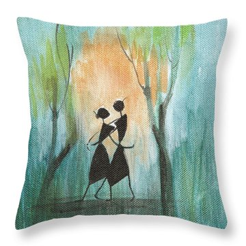 Romance In Blue Throw Pillow by Chintaman Rudra