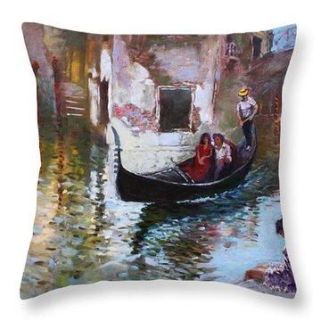 Romance In Venice 2013 Throw Pillow by Ylli Haruni