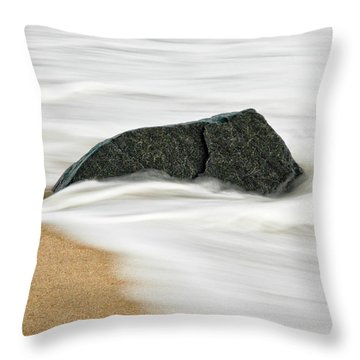 Surf Caresses A Lonely Stone Throw Pillow